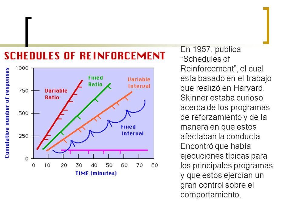 En 1957, publica Schedules of Reinforcement , el cual esta basado en el trabajo que realizó en Harvard.