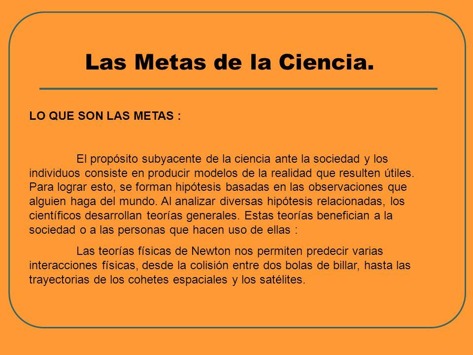Las Metas de la Ciencia. LO QUE SON LAS METAS :