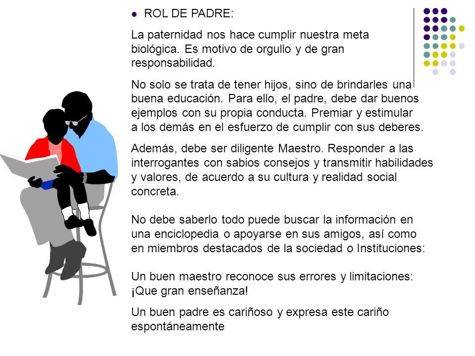 ROL DE PADRE: La paternidad nos hace cumplir nuestra meta biológica. Es motivo de orgullo y de gran responsabilidad.