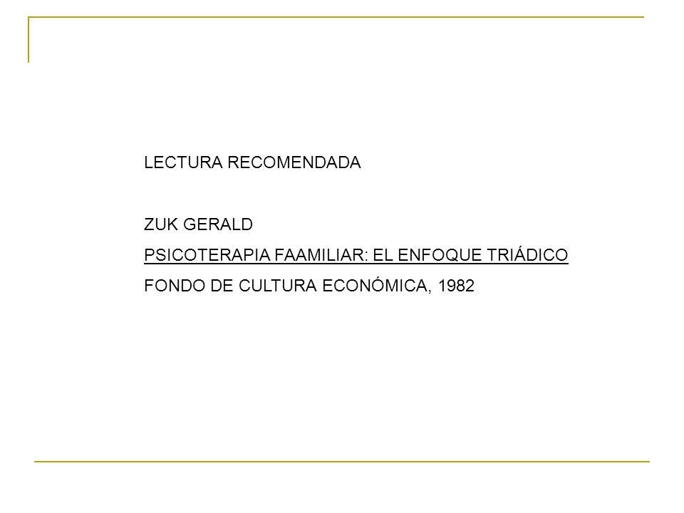 LECTURA RECOMENDADA ZUK GERALD. PSICOTERAPIA FAAMILIAR: EL ENFOQUE TRIÁDICO.