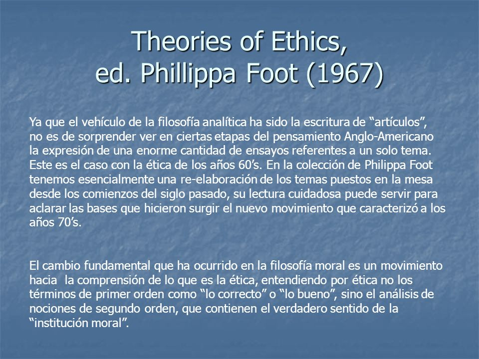 Theories of Ethics, ed. Phillippa Foot (1967)