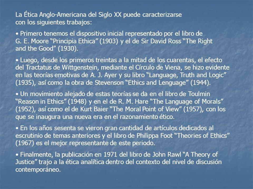 La Ética Anglo-Americana del Siglo XX puede caracterizarse con los siguientes trabajos:
