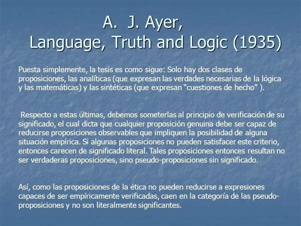 J. Ayer, Language, Truth and Logic (1935)