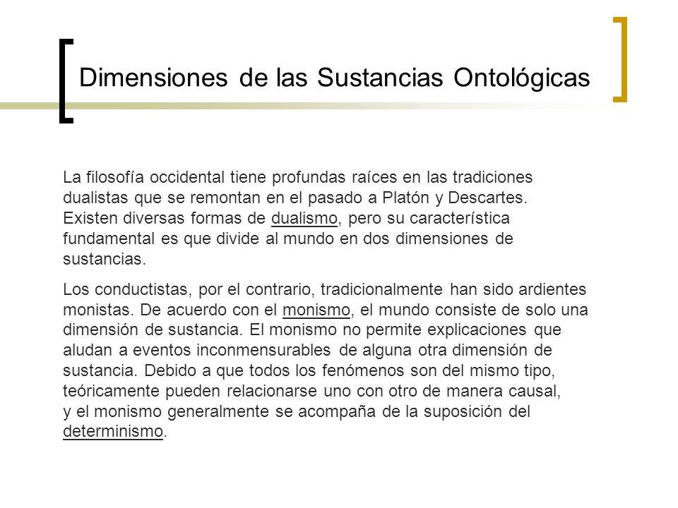 Dimensiones de las Sustancias Ontológicas