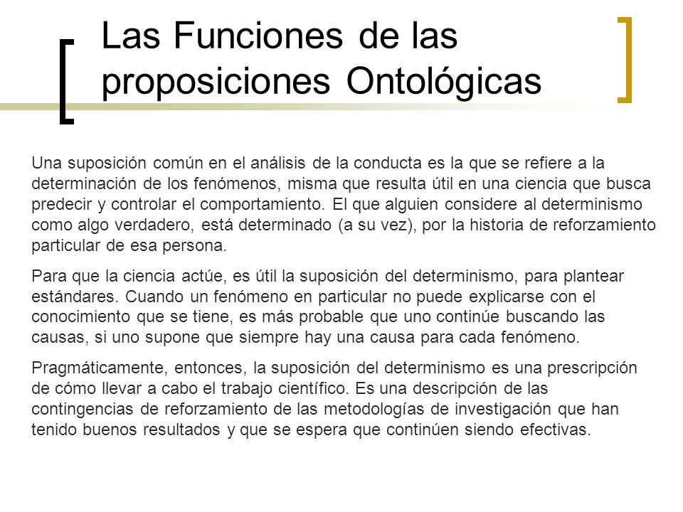 Las Funciones de las proposiciones Ontológicas