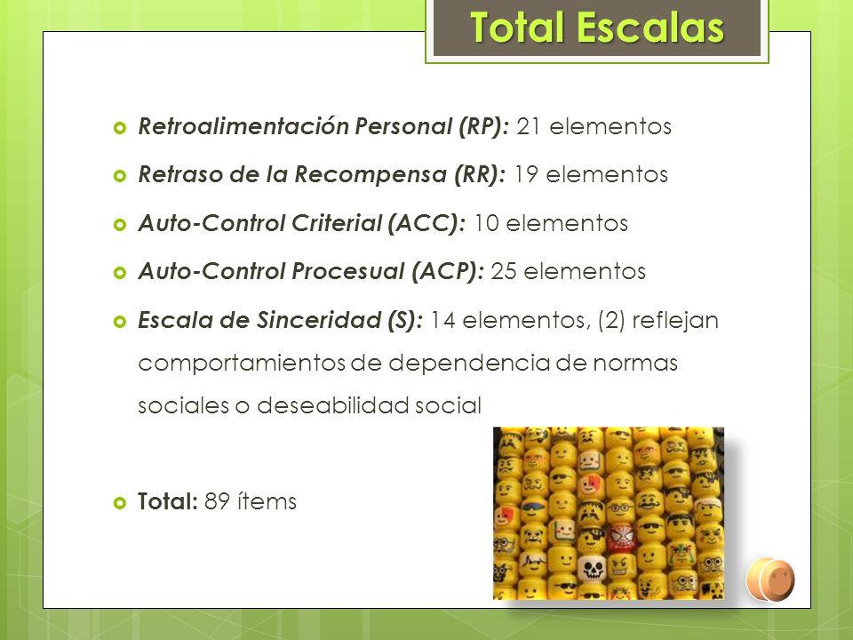 Total Escalas Retroalimentación Personal (RP): 21 elementos