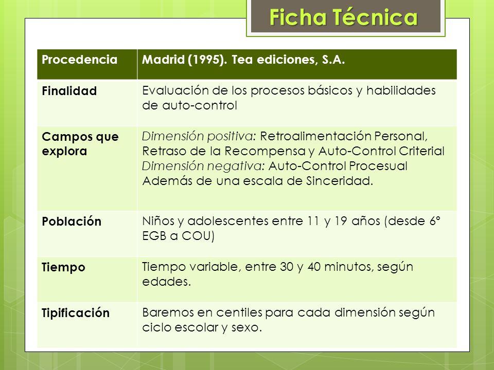 Ficha Técnica Procedencia Madrid (1995). Tea ediciones, S.A. Finalidad