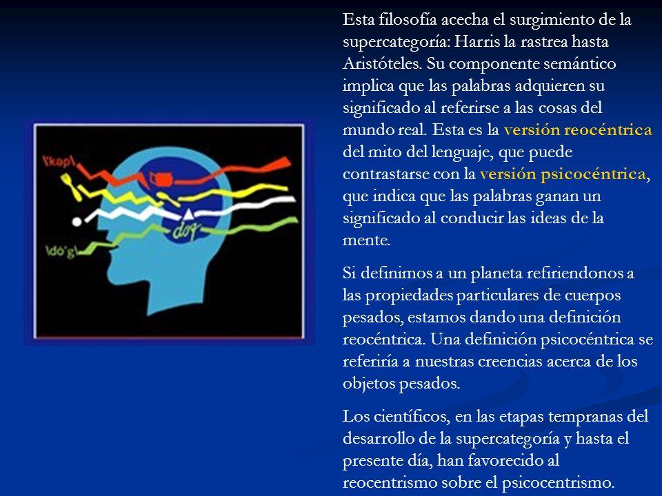 Esta filosofía acecha el surgimiento de la supercategoría: Harris la rastrea hasta Aristóteles. Su componente semántico implica que las palabras adquieren su significado al referirse a las cosas del mundo real. Esta es la versión reocéntrica del mito del lenguaje, que puede contrastarse con la versión psicocéntrica, que indica que las palabras ganan un significado al conducir las ideas de la mente.