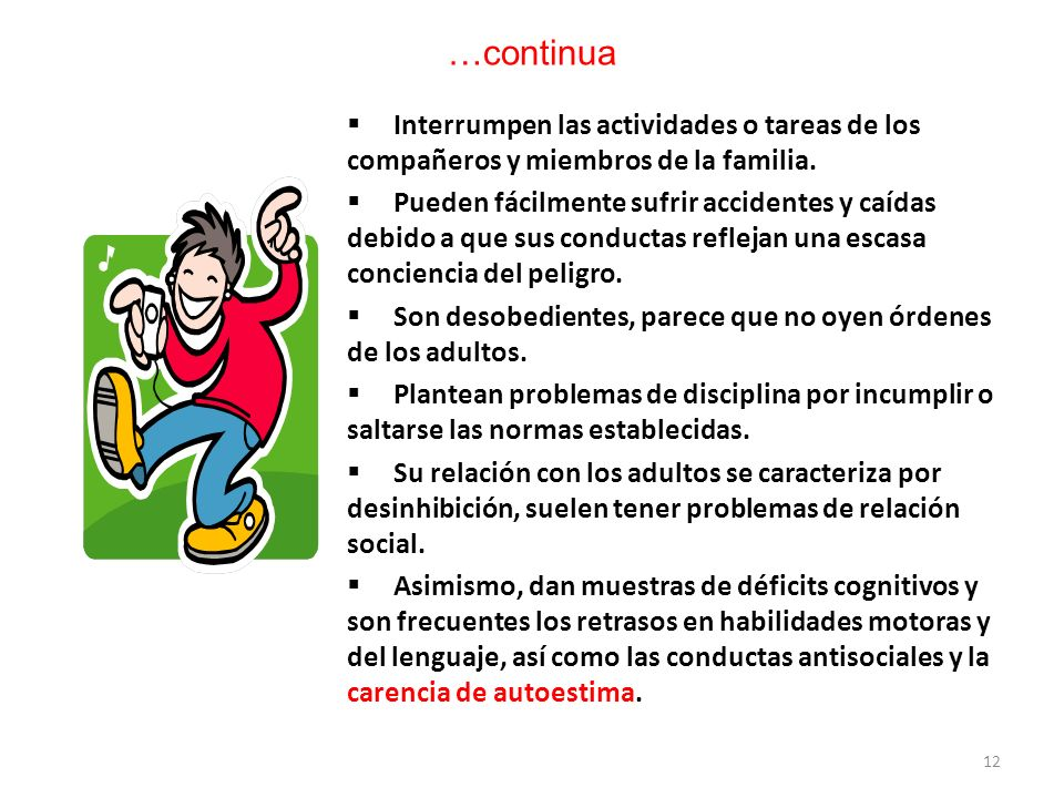 …continua Interrumpen las actividades o tareas de los compañeros y miembros de la familia.