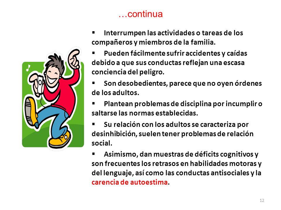 …continuaInterrumpen las actividades o tareas de los compañeros y miembros de la familia.