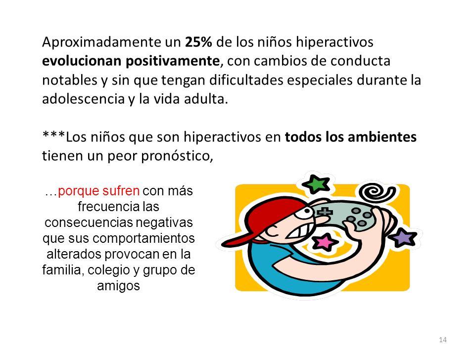 Aproximadamente un 25% de los niños hiperactivos evolucionan positivamente, con cambios de conducta notables y sin que tengan dificultades especiales durante la adolescencia y la vida adulta. ***Los niños que son hiperactivos en todos los ambientes tienen un peor pronóstico,
