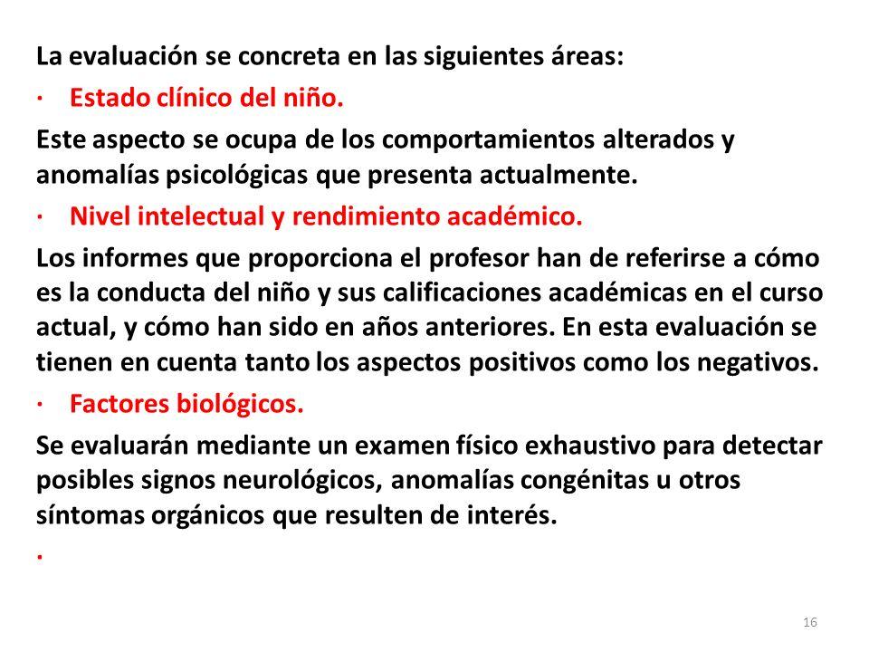 La evaluación se concreta en las siguientes áreas: