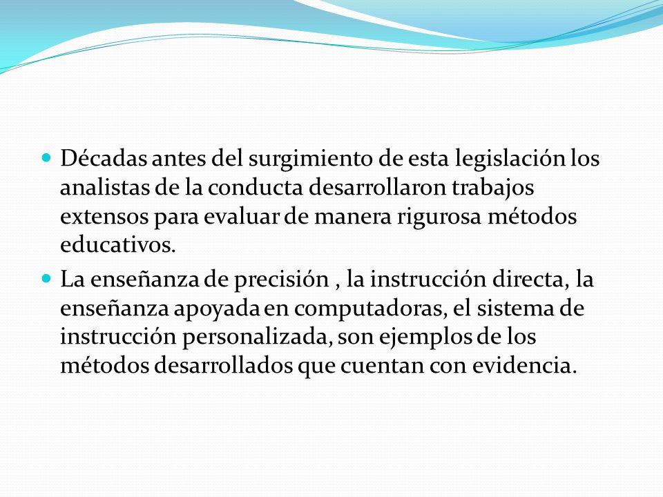 Décadas antes del surgimiento de esta legislación los analistas de la conducta desarrollaron trabajos extensos para evaluar de manera rigurosa métodos educativos.