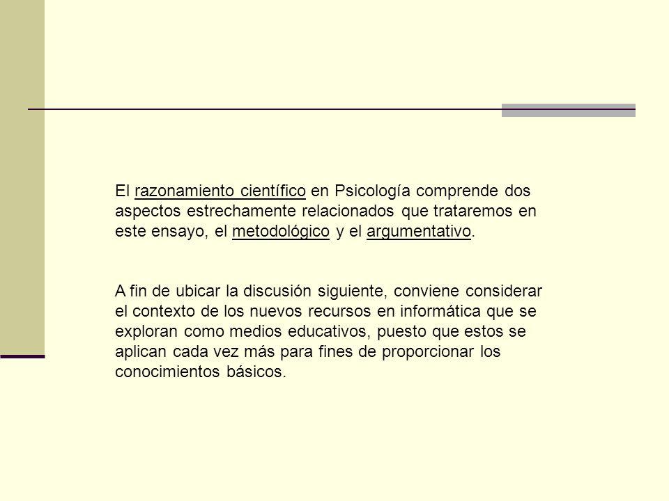 El razonamiento científico en Psicología comprende dos aspectos estrechamente relacionados que trataremos en este ensayo, el metodológico y el argumentativo.
