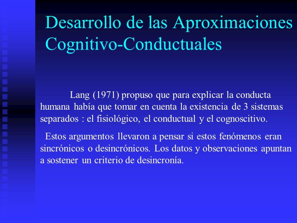 Desarrollo de las Aproximaciones Cognitivo-Conductuales