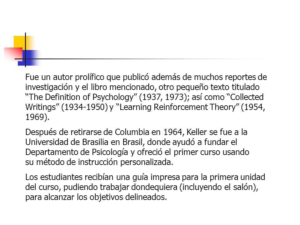 Fue un autor prolífico que publicó además de muchos reportes de investigación y el libro mencionado, otro pequeño texto titulado The Definition of Psychology (1937, 1973); así como Collected Writings (1934-1950) y Learning Reinforcement Theory (1954, 1969).