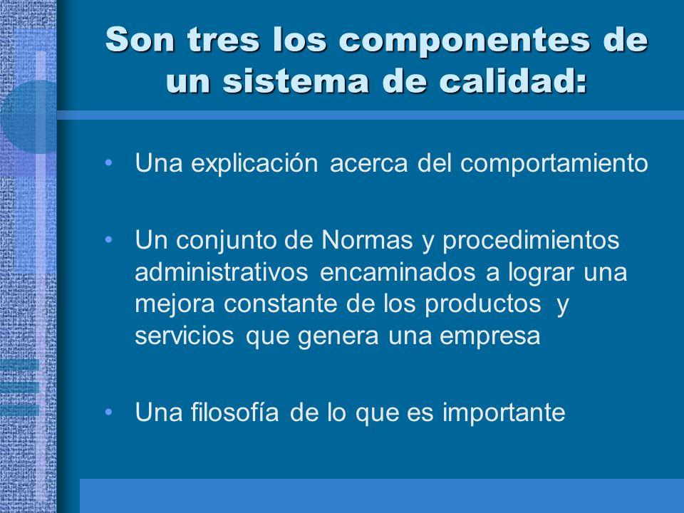 Son tres los componentes de un sistema de calidad: