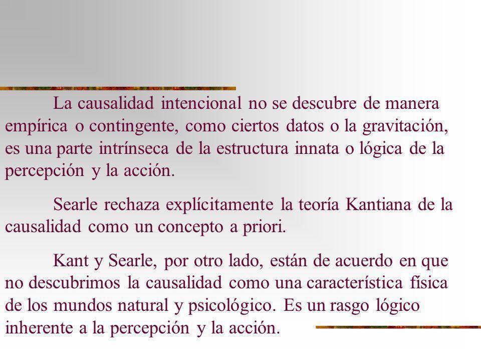 La causalidad intencional no se descubre de manera empírica o contingente, como ciertos datos o la gravitación, es una parte intrínseca de la estructura innata o lógica de la percepción y la acción.
