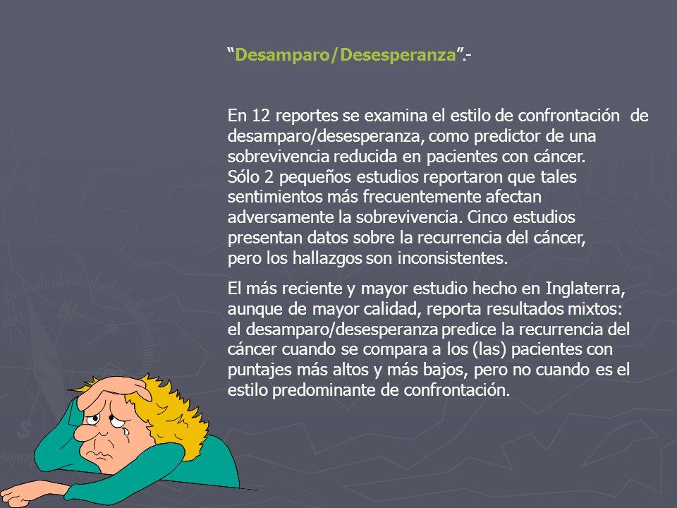 Desamparo/Desesperanza .-