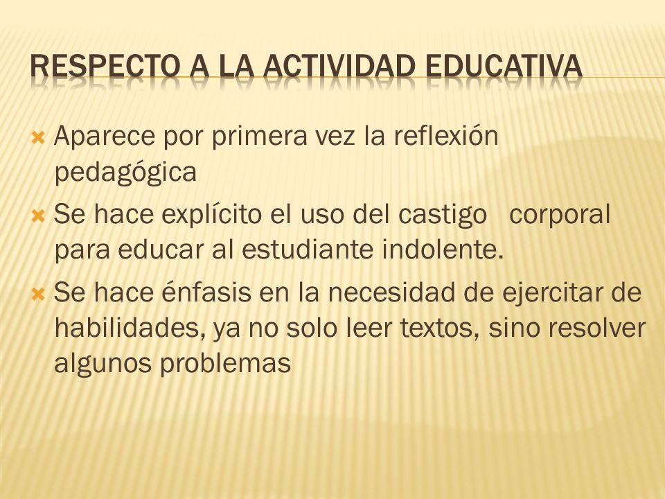 Respecto a la actividad educativa