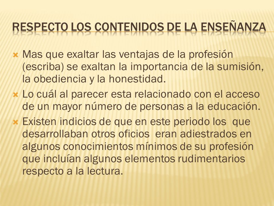 Respecto los contenidos de la enseñanza
