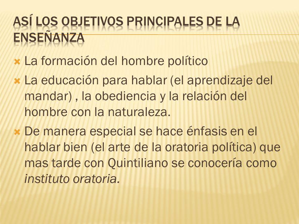 Así los objetivos principales de la enseñanza