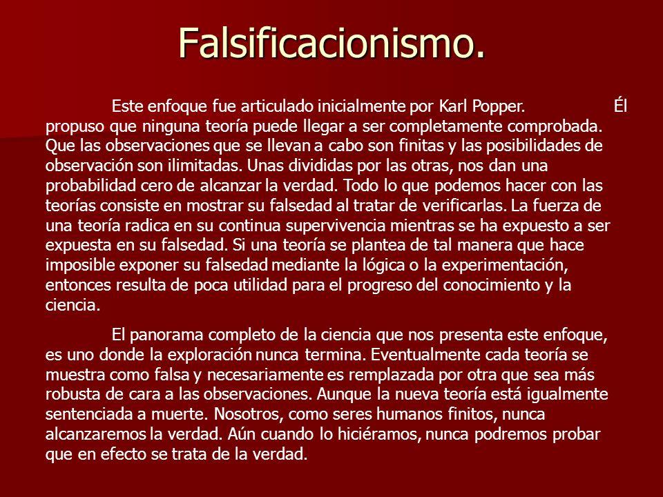 Falsificacionismo.