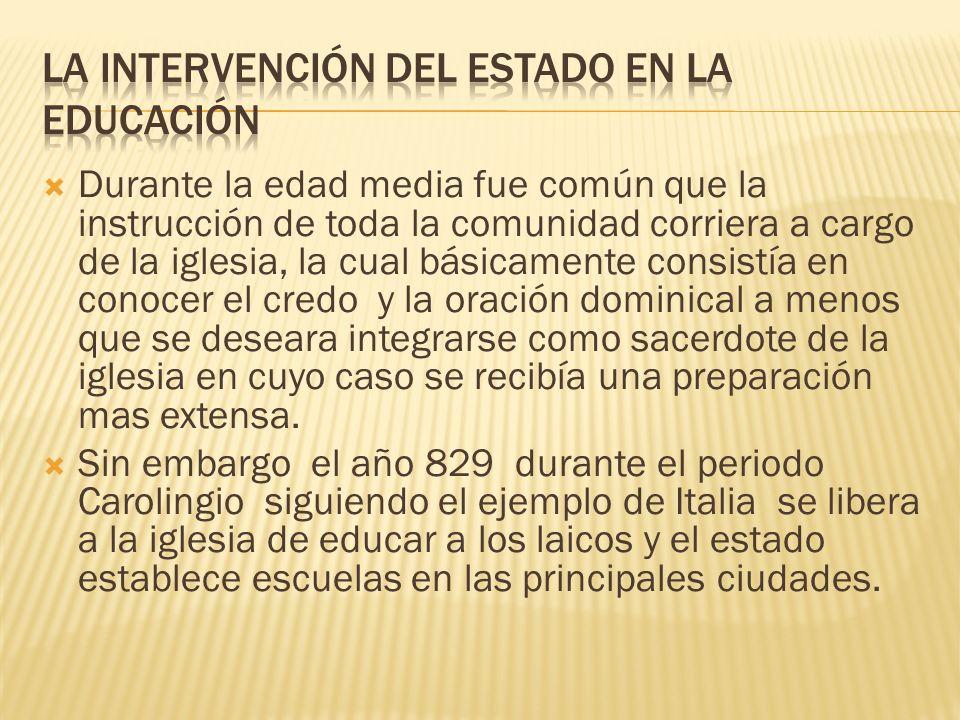 La intervención del estado en la educación