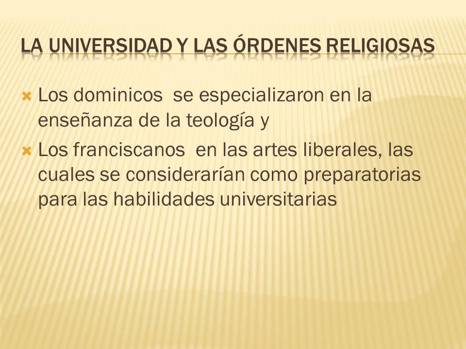 LA UNIVERSIDAD Y LAS ÓRDENES RELIGIOSAS