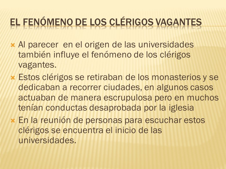 EL FENÓMENO DE LOS CLÉRIGOS VAGANTES
