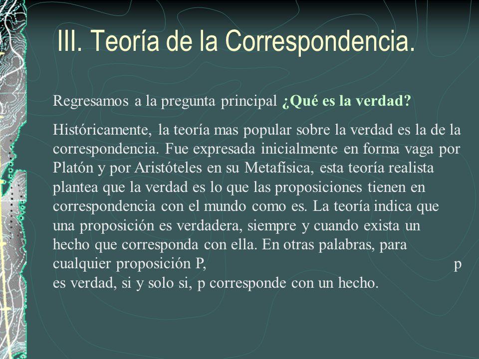 III. Teoría de la Correspondencia.