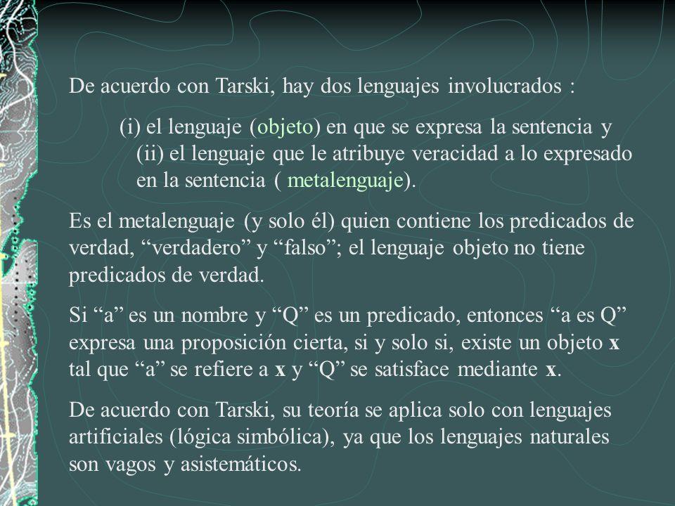 De acuerdo con Tarski, hay dos lenguajes involucrados :