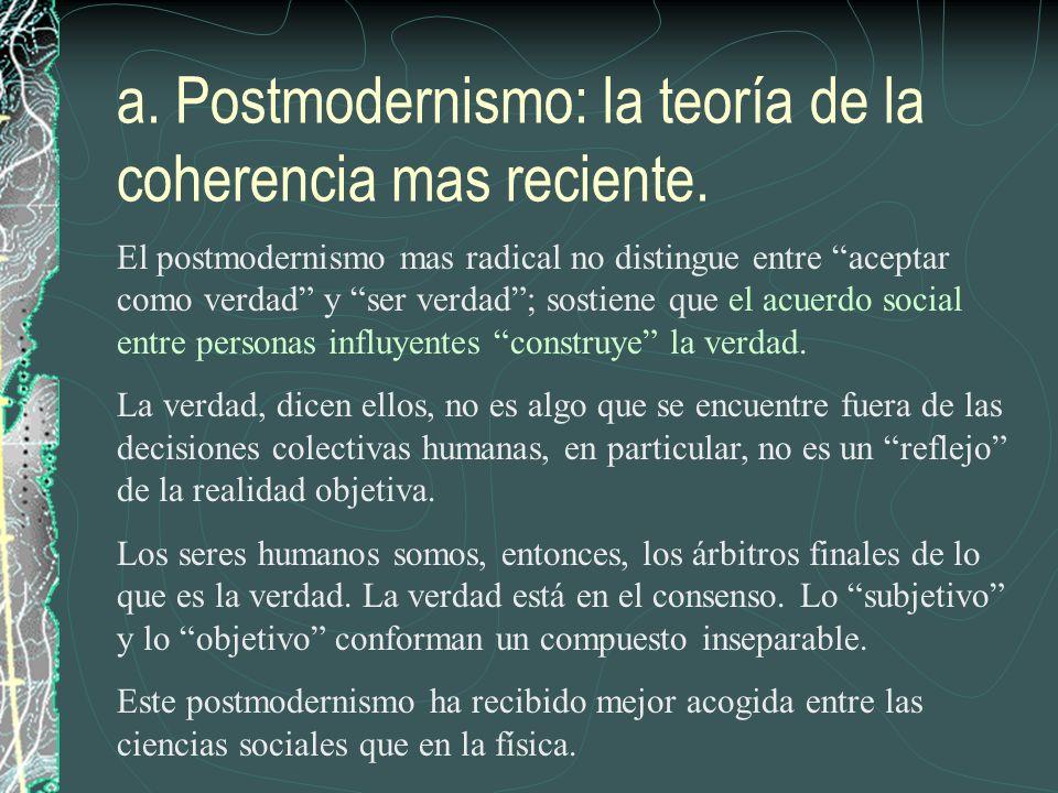 a. Postmodernismo: la teoría de la coherencia mas reciente.