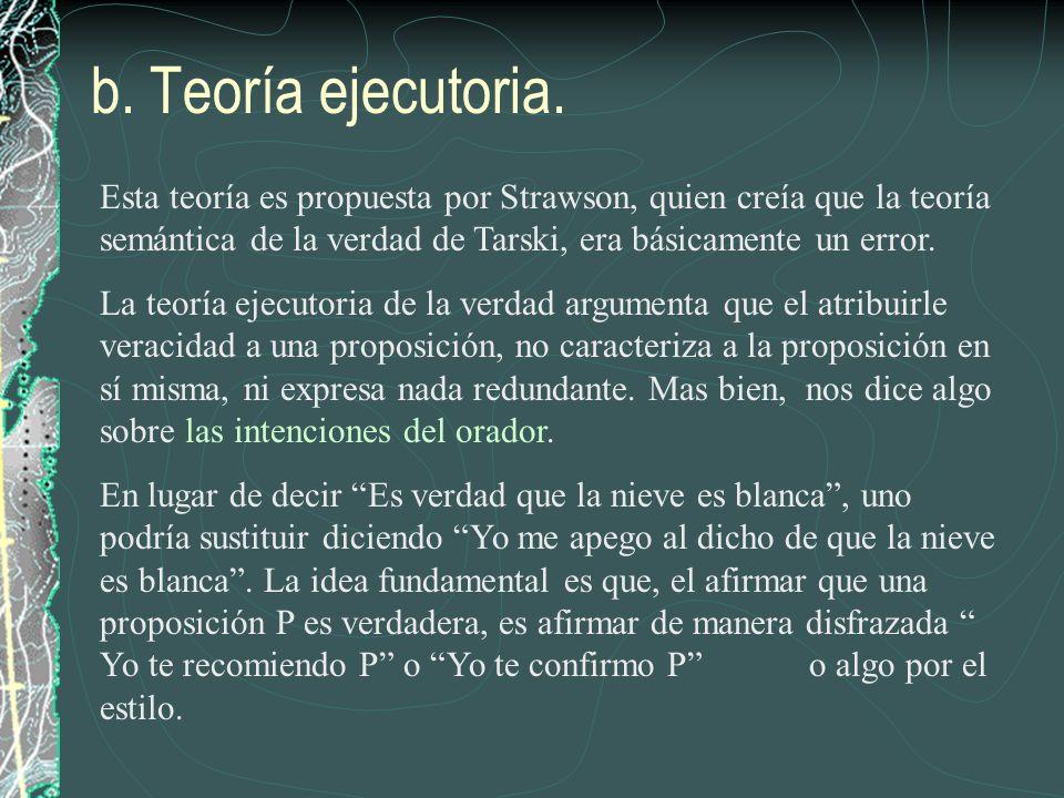 b. Teoría ejecutoria. Esta teoría es propuesta por Strawson, quien creía que la teoría semántica de la verdad de Tarski, era básicamente un error.