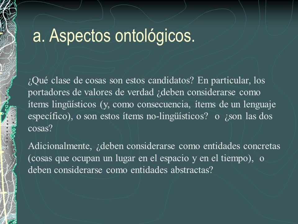 a. Aspectos ontológicos.