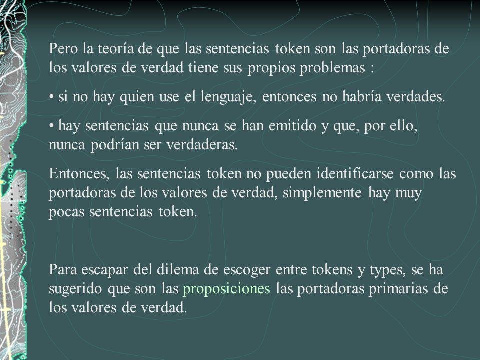 Pero la teoría de que las sentencias token son las portadoras de los valores de verdad tiene sus propios problemas :