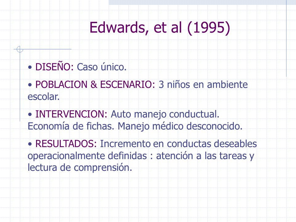 Edwards, et al (1995) DISEÑO: Caso único.