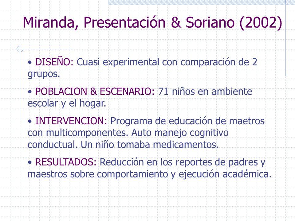 Miranda, Presentación & Soriano (2002)