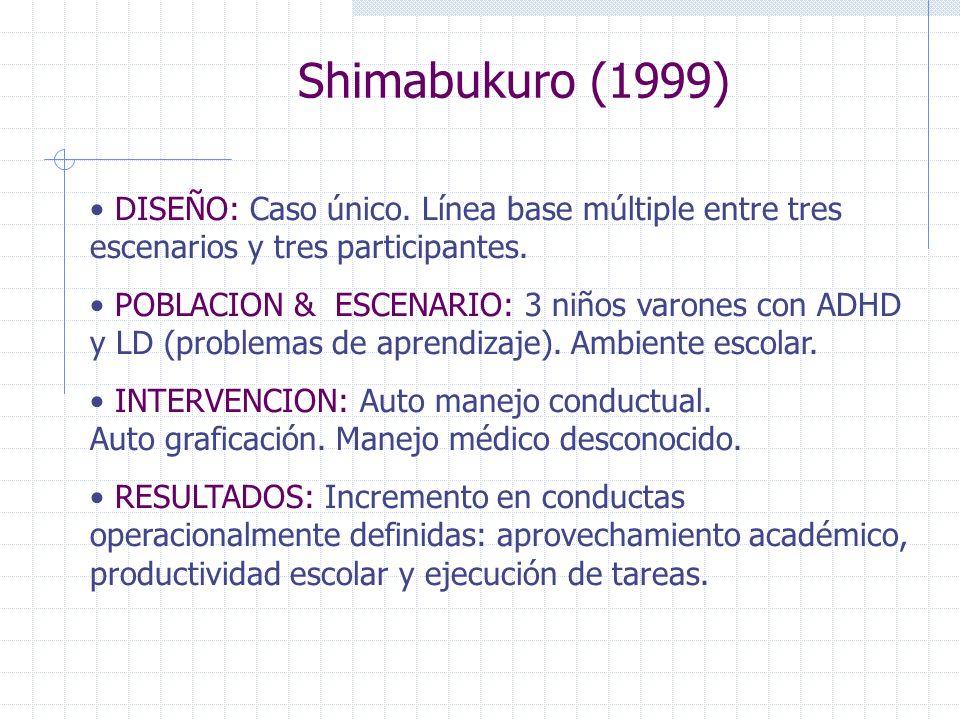 Shimabukuro (1999)DISEÑO: Caso único. Línea base múltiple entre tres escenarios y tres participantes.