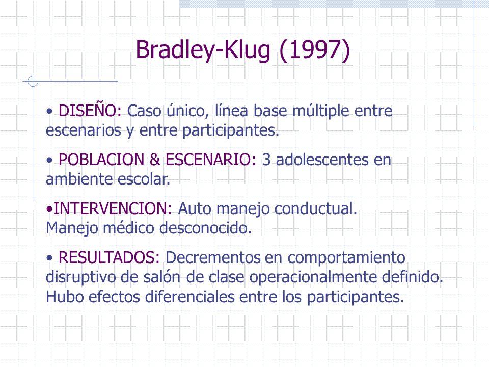 Bradley-Klug (1997)DISEÑO: Caso único, línea base múltiple entre escenarios y entre participantes.