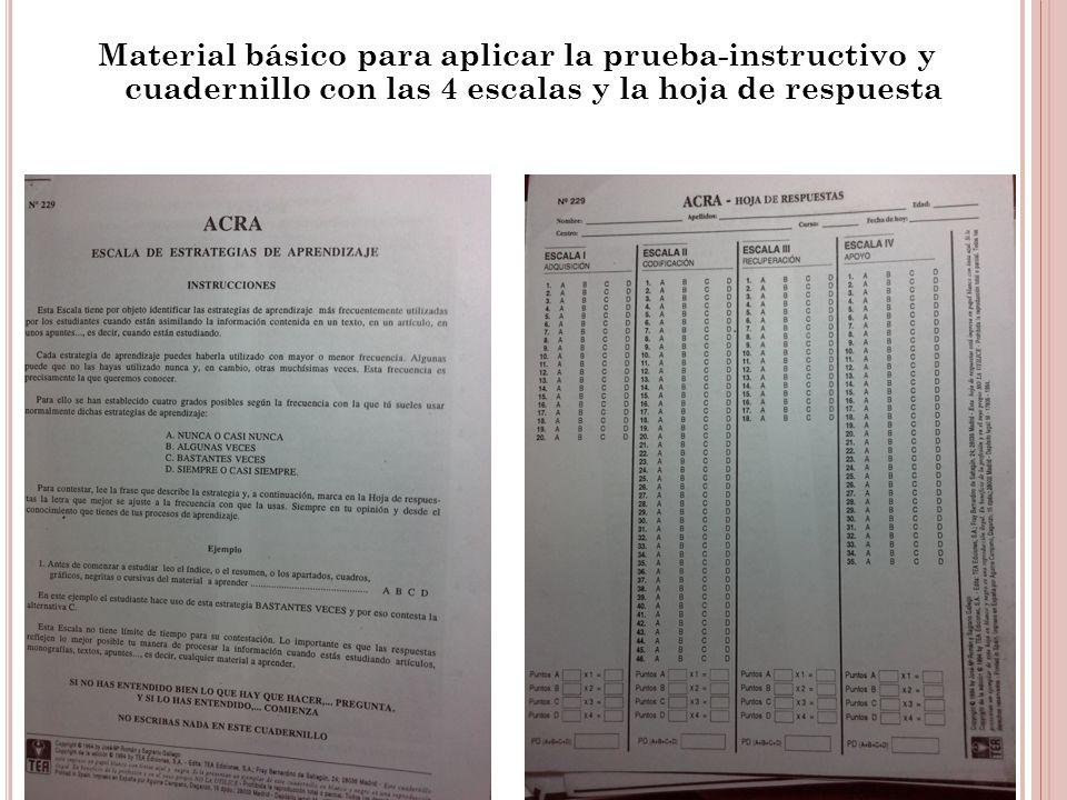 Material básico para aplicar la prueba-instructivo y cuadernillo con las 4 escalas y la hoja de respuesta