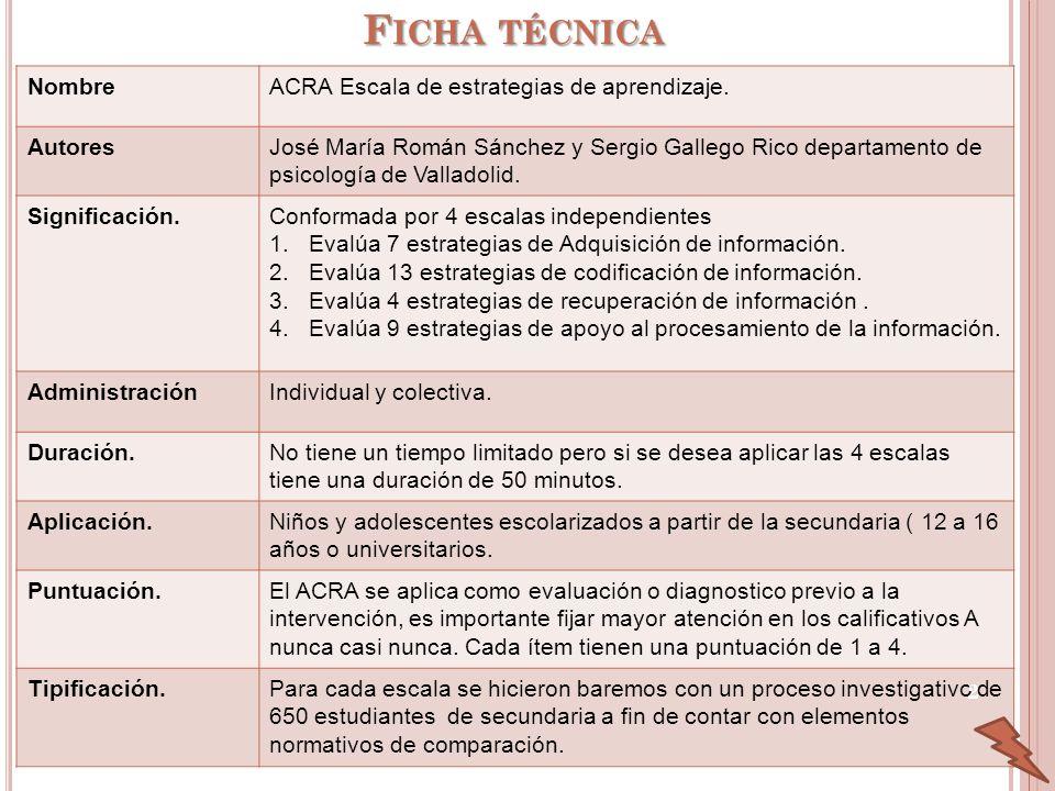 Ficha técnica Nombre ACRA Escala de estrategias de aprendizaje.