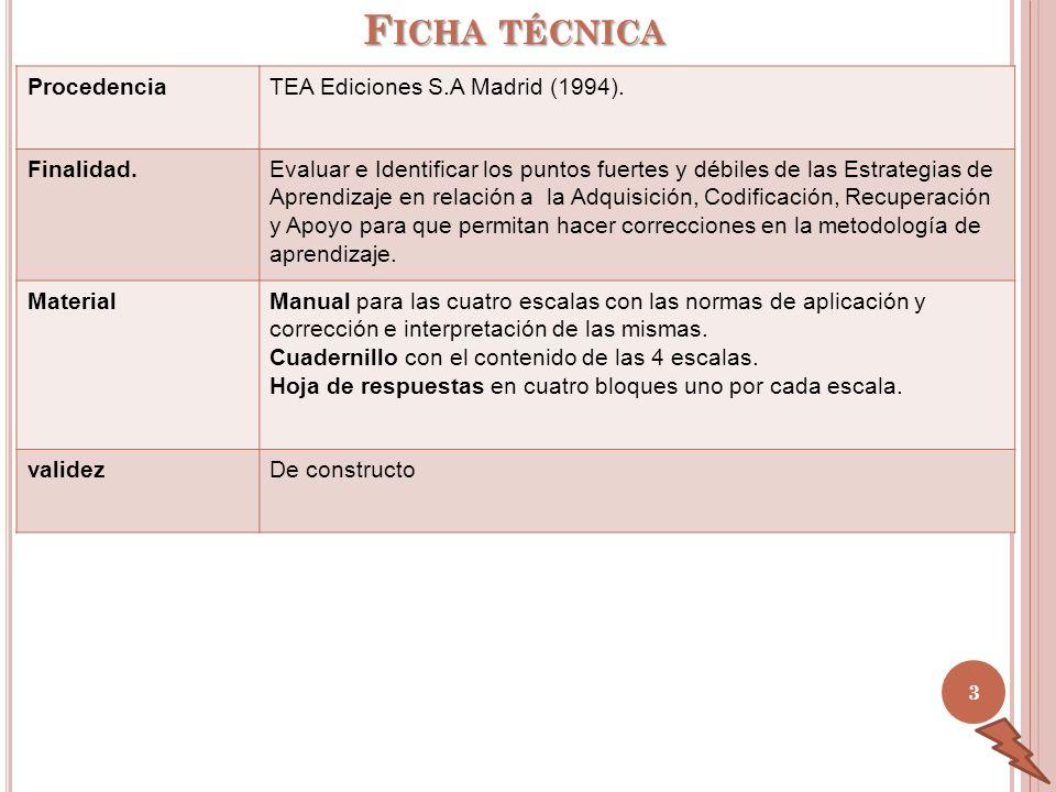 Ficha técnica Procedencia TEA Ediciones S.A Madrid (1994). Finalidad.