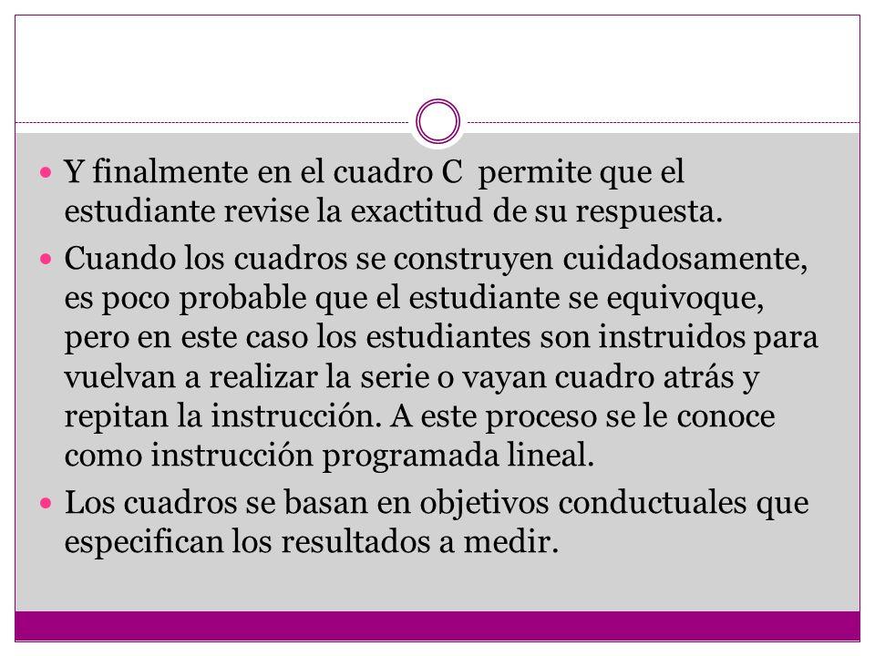 Y finalmente en el cuadro C permite que el estudiante revise la exactitud de su respuesta.