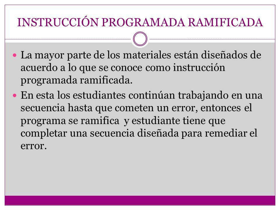 INSTRUCCIÓN PROGRAMADA RAMIFICADA