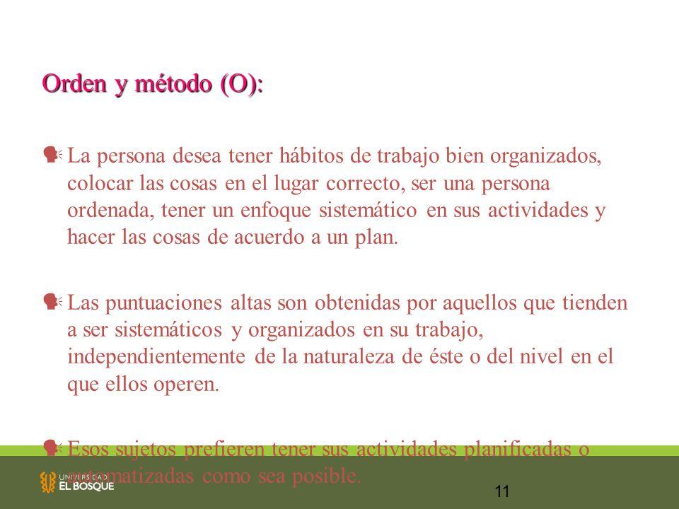Orden y método (O):