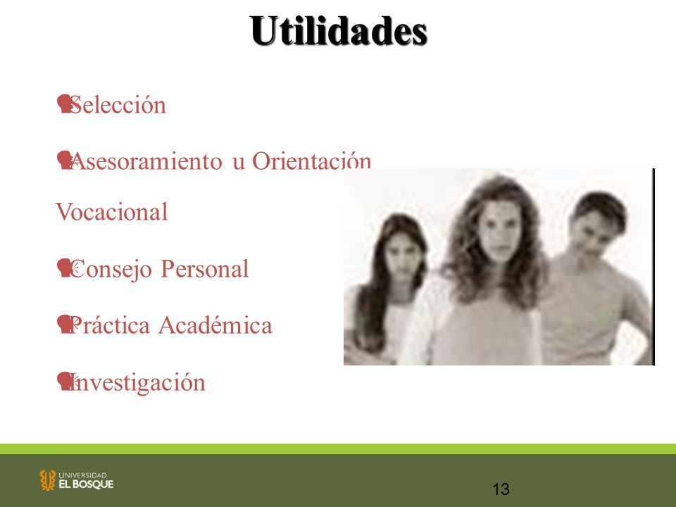 Utilidades Selección Asesoramiento u Orientación Vocacional