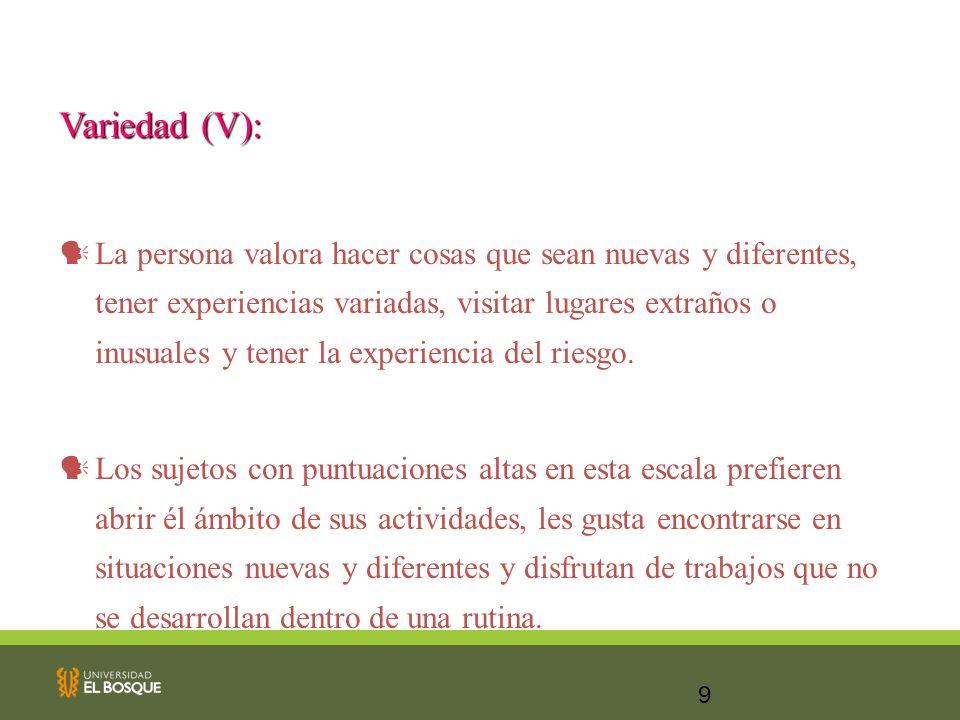 Variedad (V):