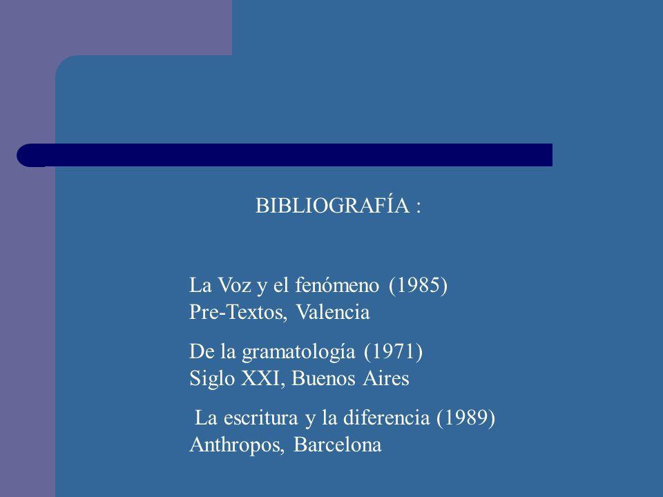 BIBLIOGRAFÍA : La Voz y el fenómeno (1985) Pre-Textos, Valencia.