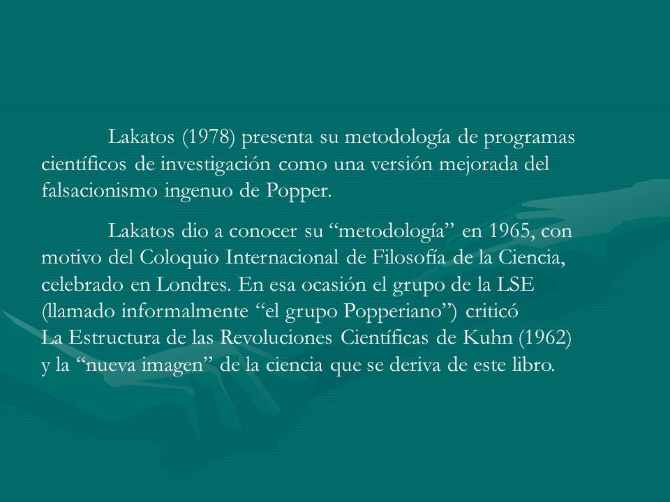 Lakatos (1978) presenta su metodología de programas científicos de investigación como una versión mejorada del falsacionismo ingenuo de Popper.